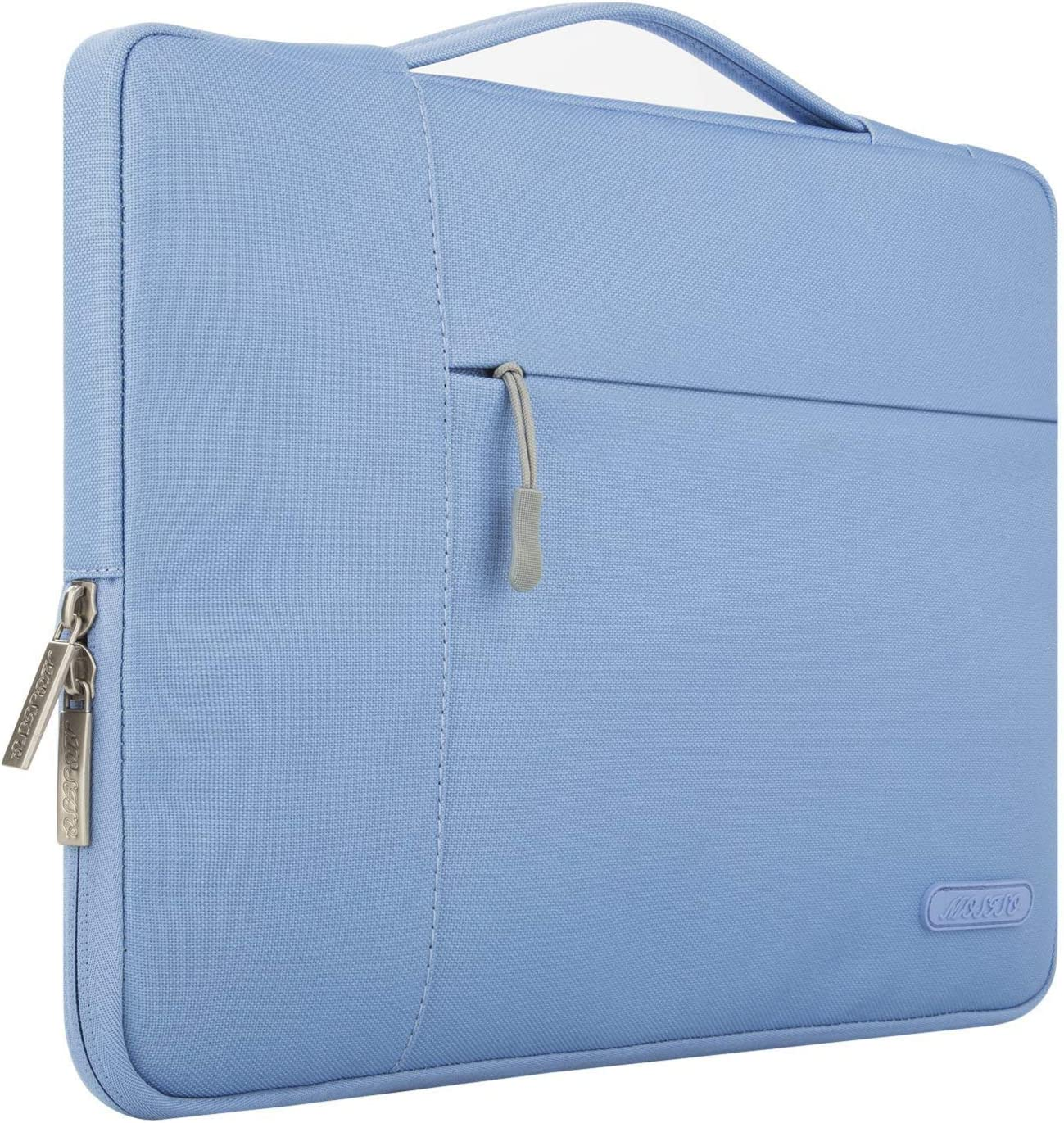 MOSISO Laptop Sleeve Compatible with MacBook Pro 16 inch, 15 15.4 15.6 inch Dell Lenovo HP Asus Acer Samsung Sony Chromebook,Polyester Multifunctional Briefcase Carrying Bag,Serenity Blue