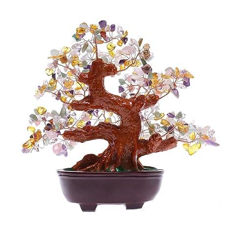 Feng Shui Multi Color Natural piedra Gem dinero árbol mesa de ...