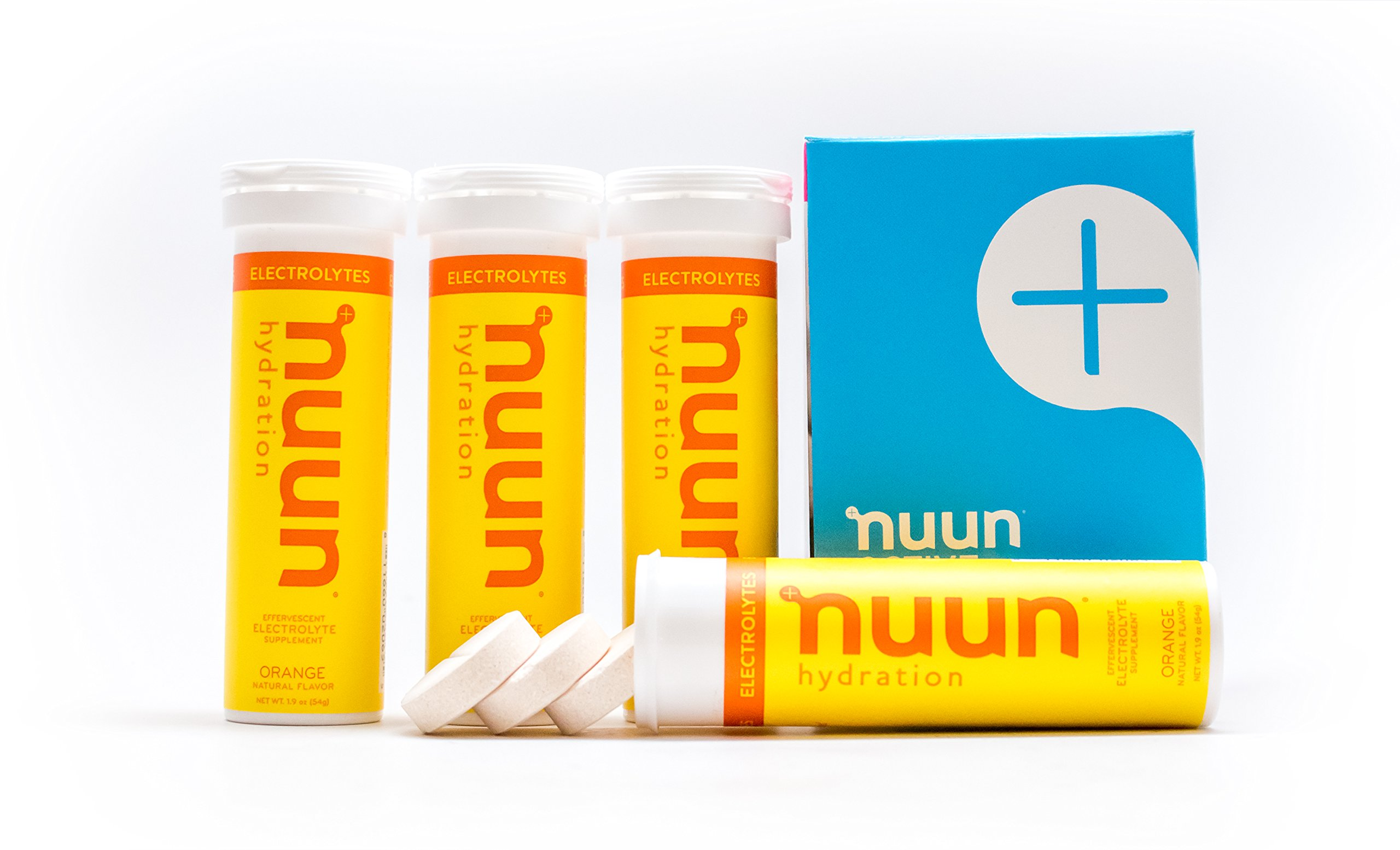 Nuun Hydration: Electrolyte Drink Tablets, Orange, Box of 4 Tubes (40 servings), to Recover Essential Electrolytes Lost Through Sweat