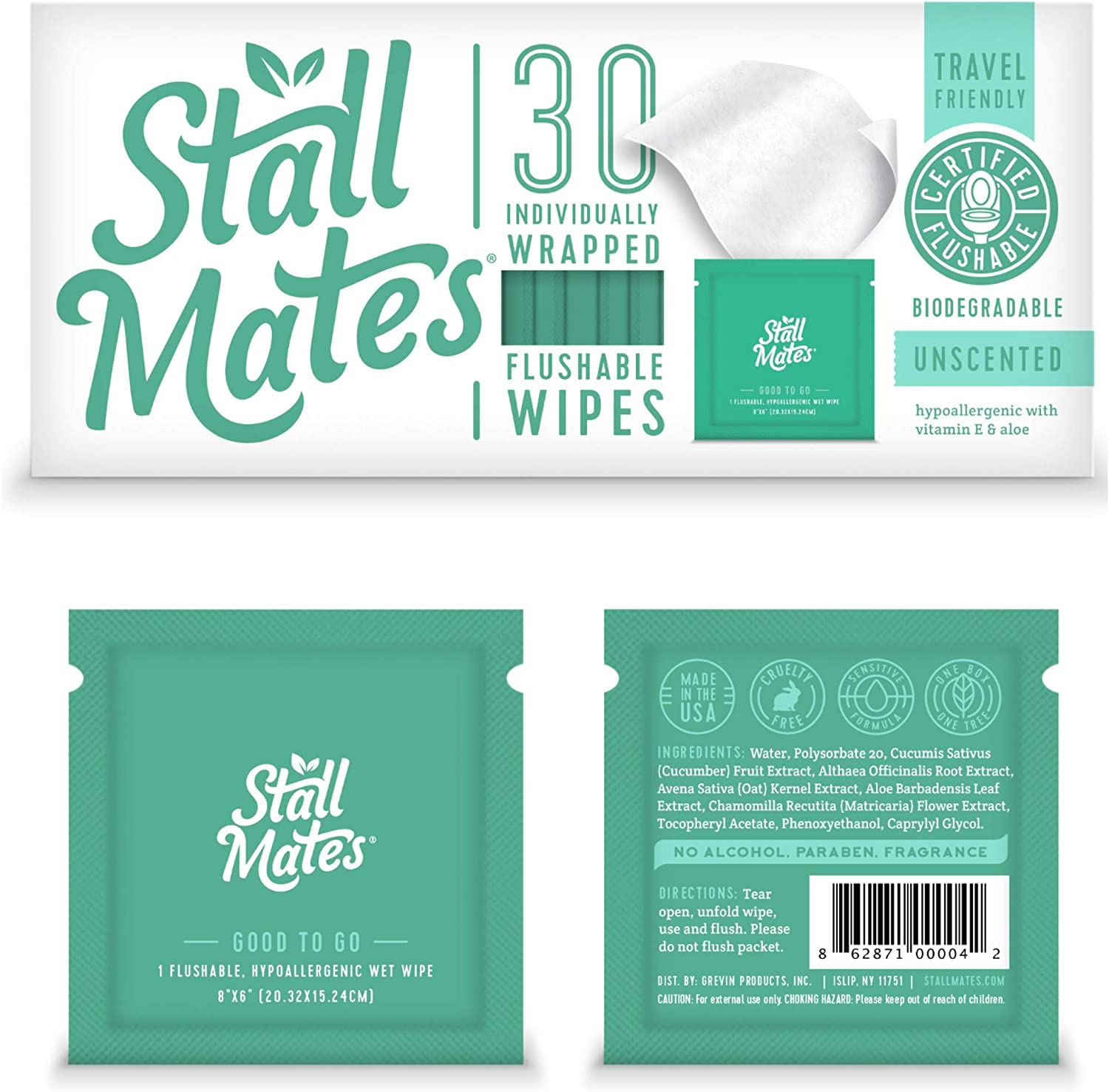 Stall Mates: Flushable, individually wrapped wipes for travel