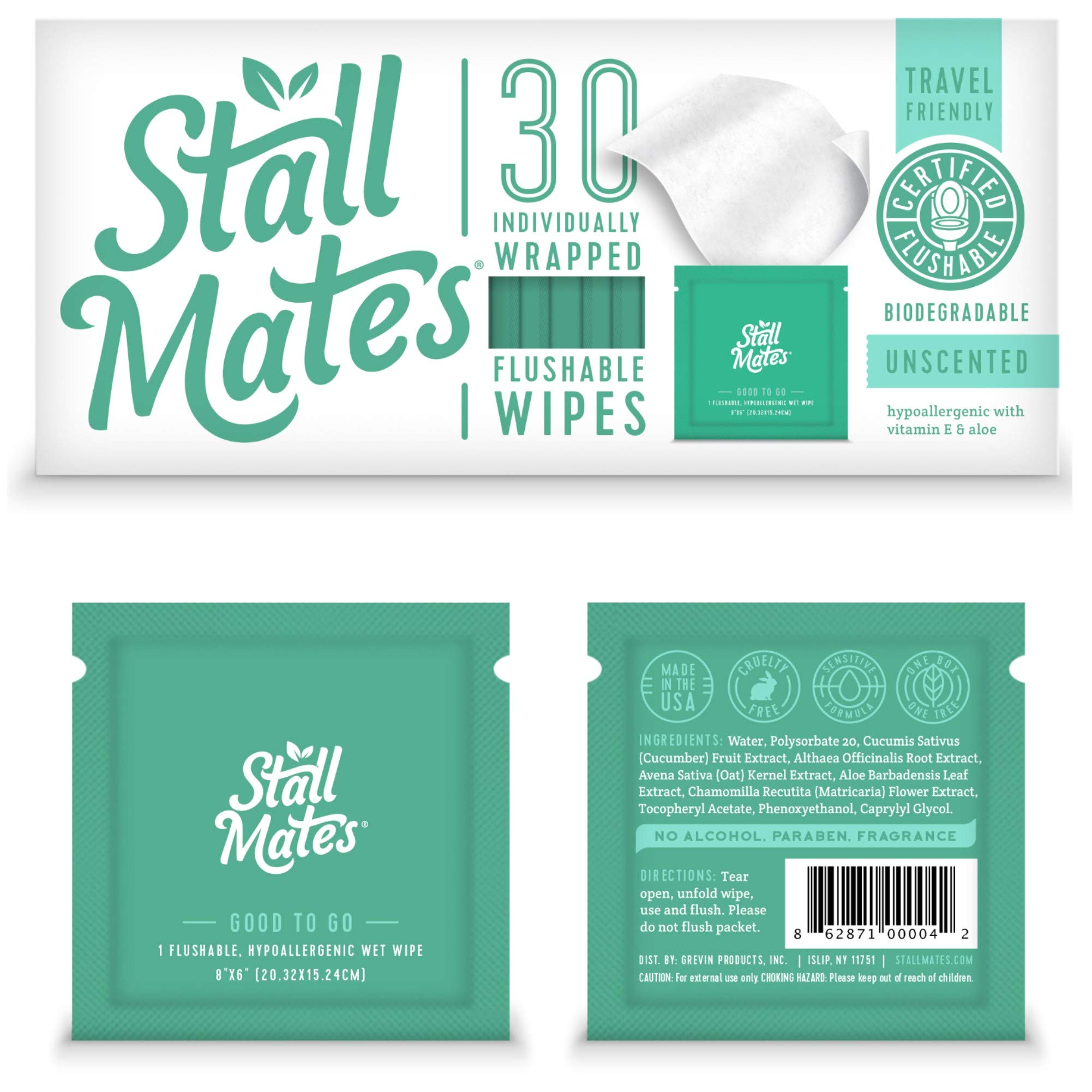 Stall Mates: Flushable, Individually Wrapped Wipes for Travel. Unscented with Vitamin-E & Aloe, 100% Biodegradable (30 on-The-go Singles) by Stall Mates Wipes
