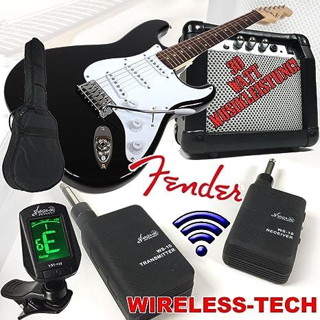 Fender Squier Bullet Strat guitarra eléctrica Negro Wireless con 30 W Amplificador y Sky Plug Wireless