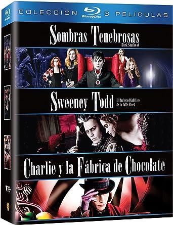 Pack: Sweeney Todd: El Barbero Diabólico De La Calle Fleet + Sombras Tenebrosas + Charlie Y La Fábrica De Chocolate Blu-ray: Amazon.es: Johnny Depp, Michelle Pfeiffer, Freddie Highmore, Tim Burton, Johnny Depp,
