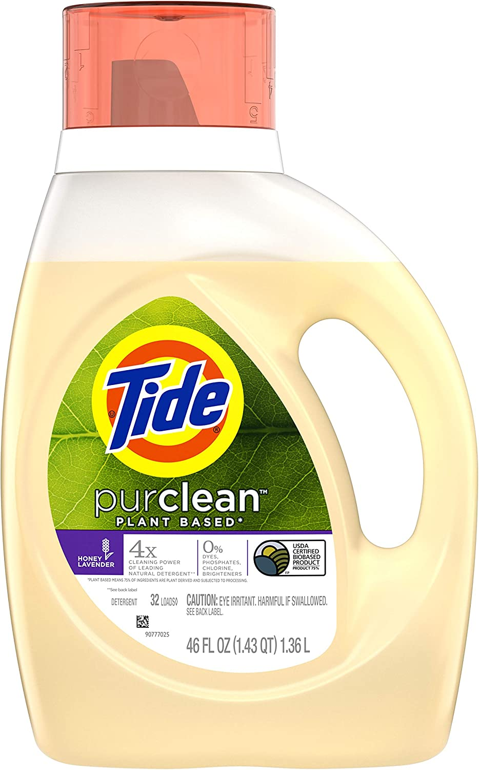 Tide Purclean Plant Based Liquid Laundry Detergent, Honey Lavender, 32 Loads, 46 Fl Oz