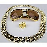 Panelize® Proll Lude Macho Proleth Angeber Hip Hop Rapper Bonzen Set - Brille Ring Kette gold