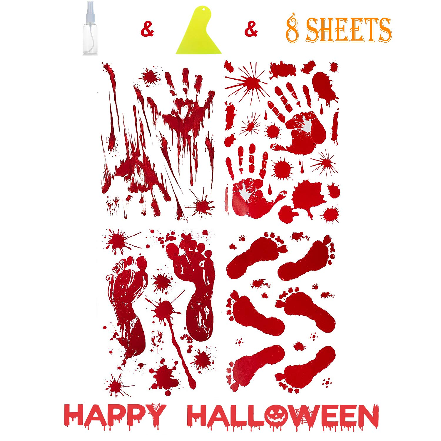JBTAIN Halloween Decoration Bloody Handprint &Footprint Clings Decals, Horror Stickers with One Plastic Scraper & Plastic Bottle(8 Sheets)