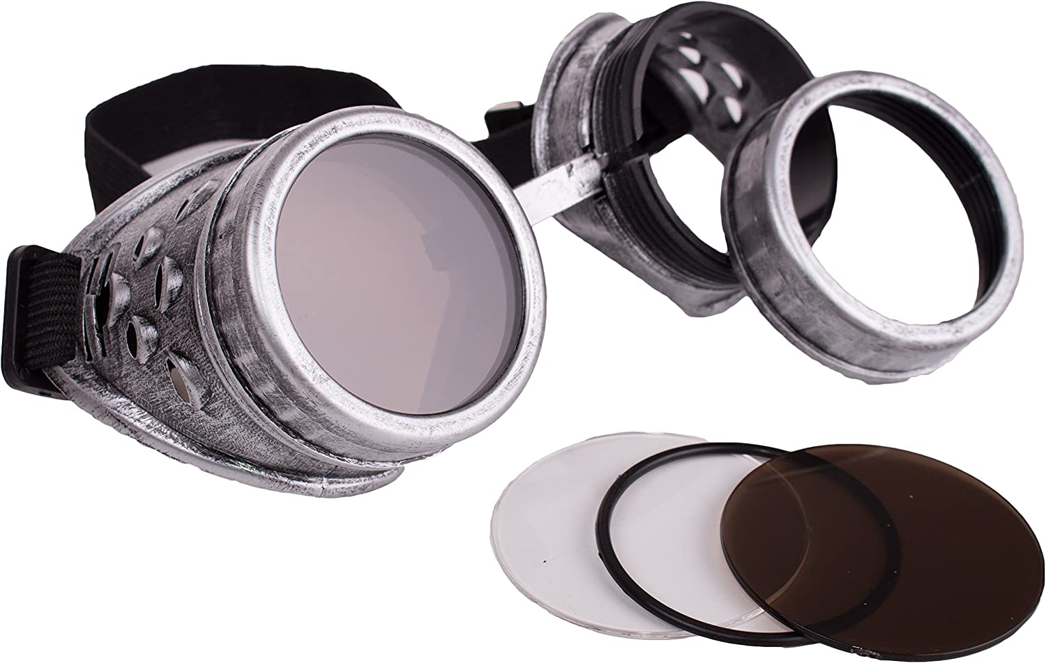 Veil Entertainment Halloween Steampunk Cosplay Goggles, Silver, One Size