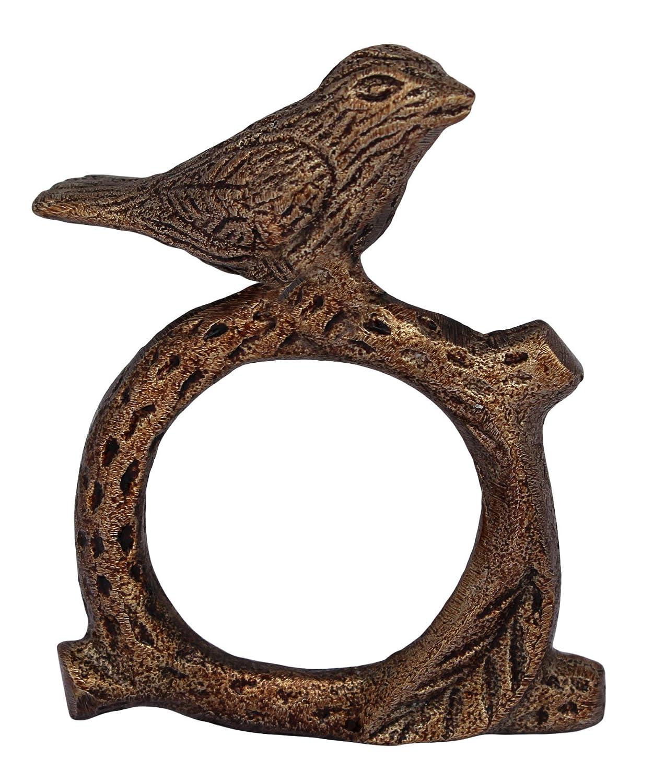 Aluminium Metal Napkin Rings Holder for Dinning Table Parties Everyday Set of 4 Ultimate Krafts No Model ITOS365 Handmade Songbird Bird on Tree Branch