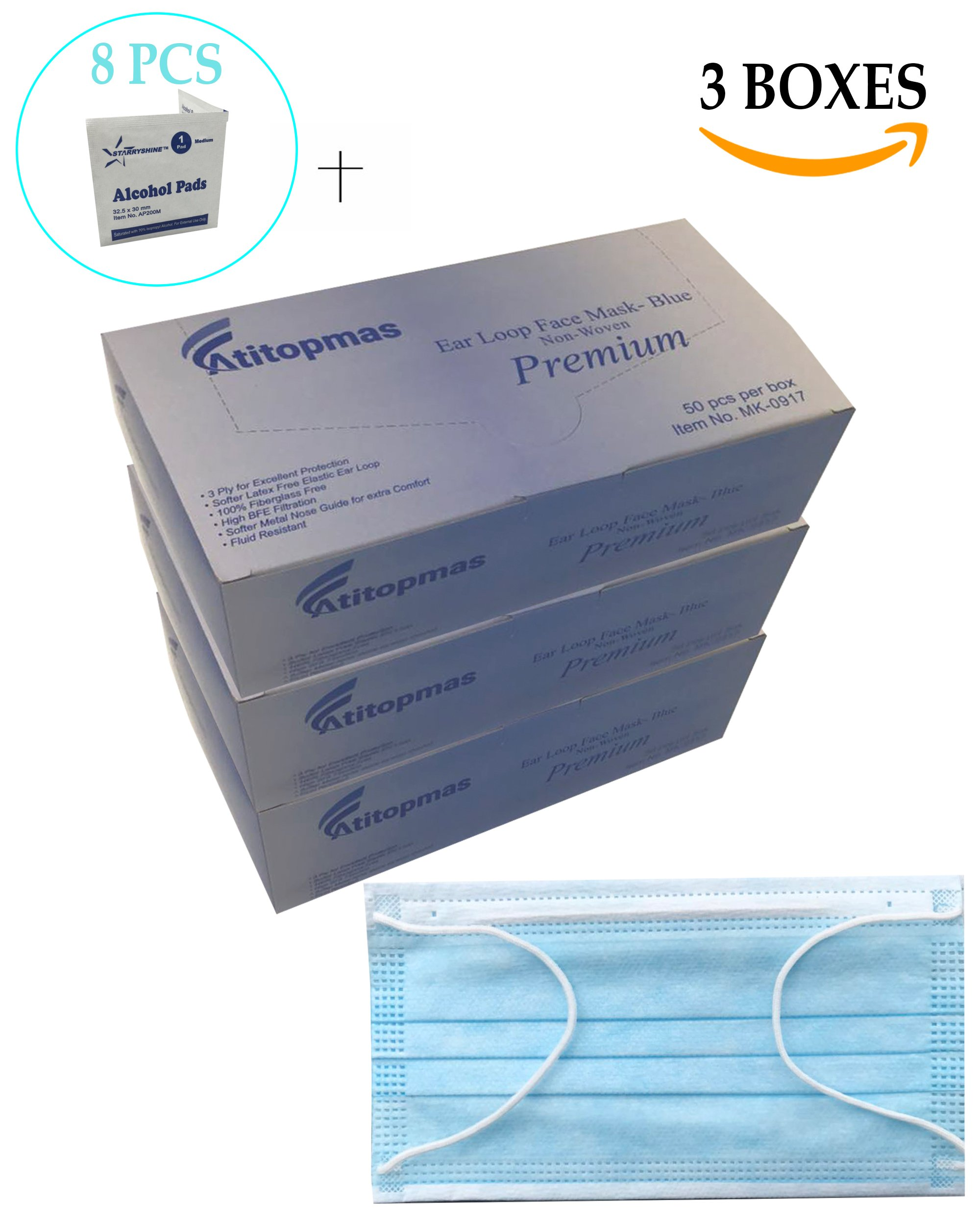 150 pcs - PREMIUM (3-ply) Disposable Earloop Face Masks - Medical Grade- Surgical, Dental, Allergy, Cold, Flu Germ, Anti- Dust, Airplane Travel -BLUE-(FDA)