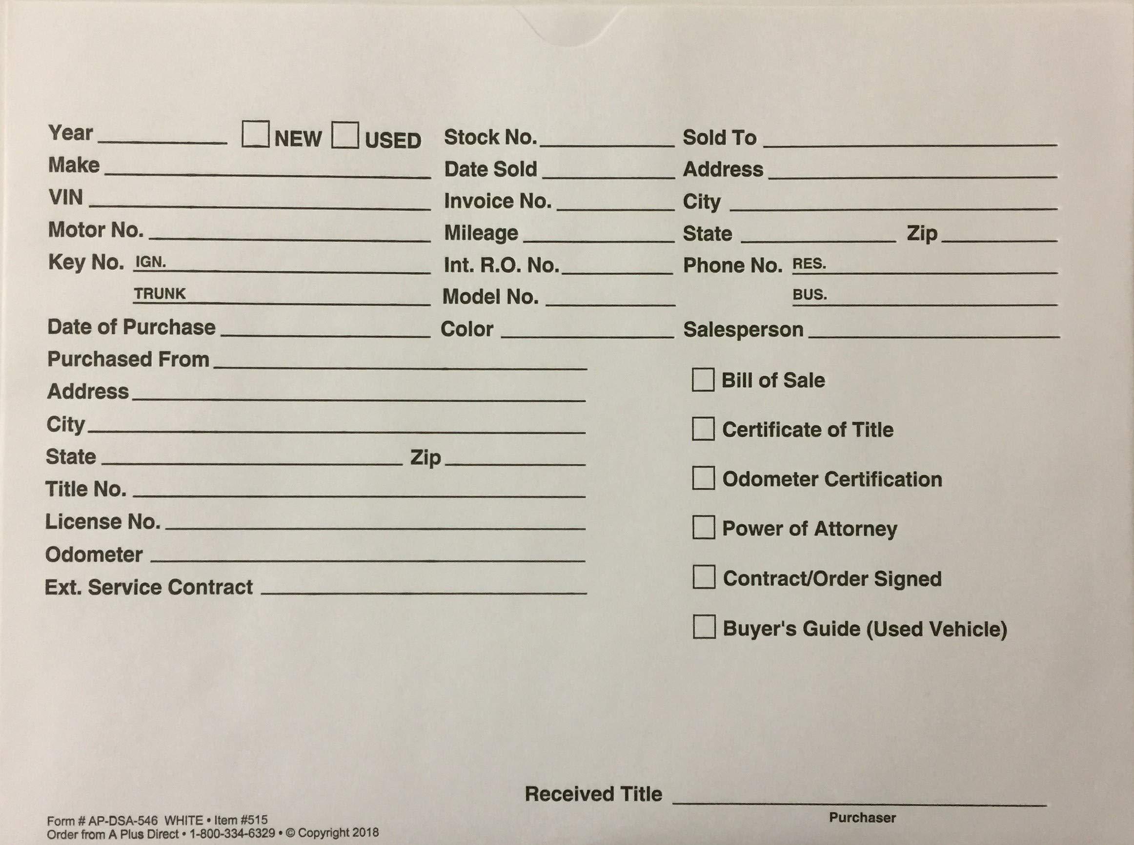 Vehicle Deal Jacket - Car Sales Envelope - White (P6) (100)