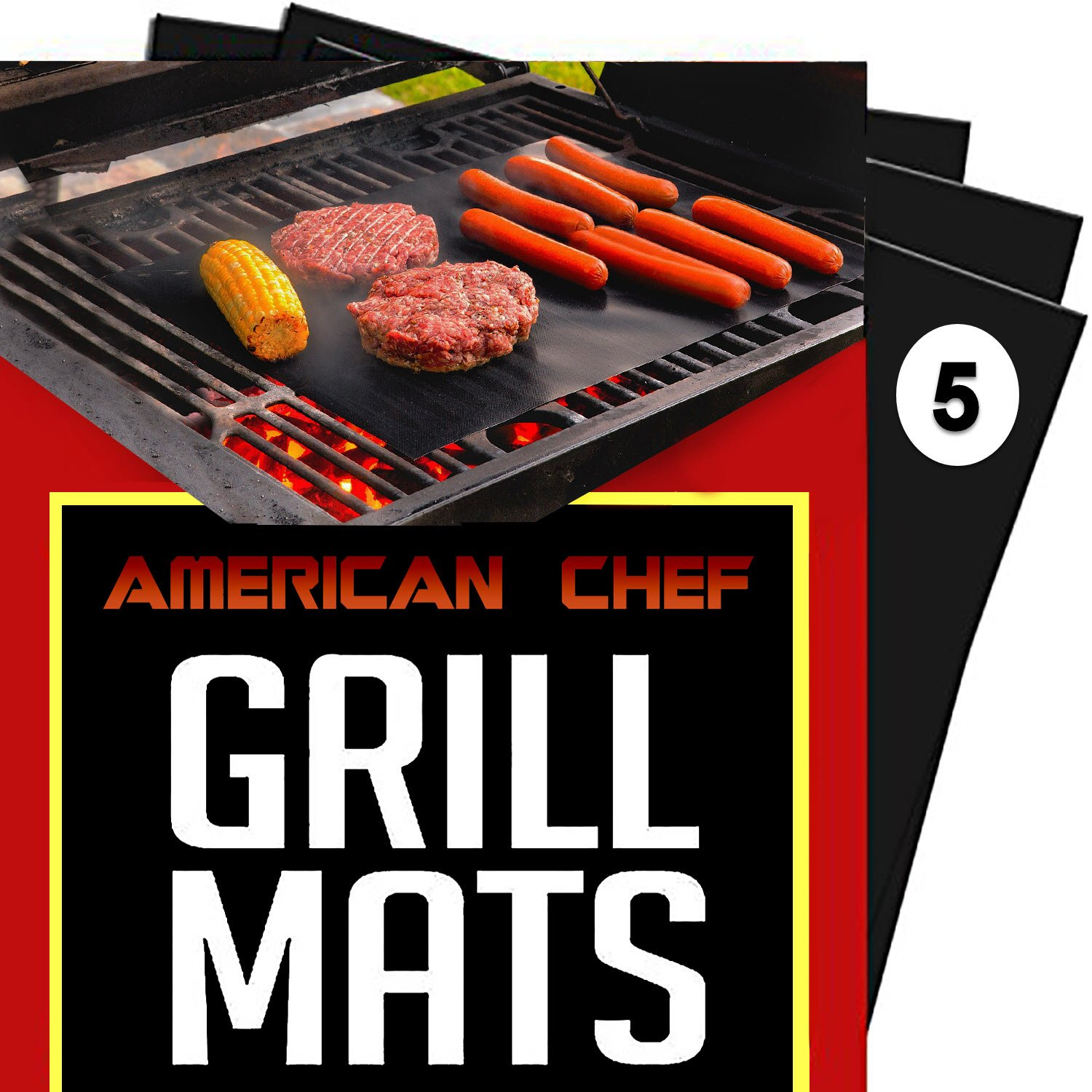 (Set of 5) American Chef Baking and Grill Mat- Heavy Duty, Thick, Reusable, FDA, Non-Stick Mats for Gas or Charcoal BBQ Main-GM-Pack