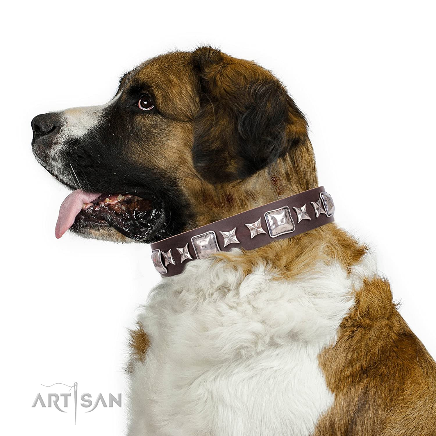 Fits for 27 inch (68cm) dog's neck size 27 inch Brown Leather Dog Collar with Chrome Plated Decorations  Perfect Impression  1 1 2 inch (40 mm) wide