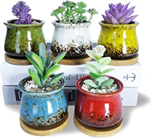 Succulent Pots, Artketty 3.1 Inch Ceramic Succulent Planters with Drainage Bamboo Saucers Small Glazed Cactus Plant Pots Flower Container for Indoor/Outdoor Home Garden Decor, Set of 5
