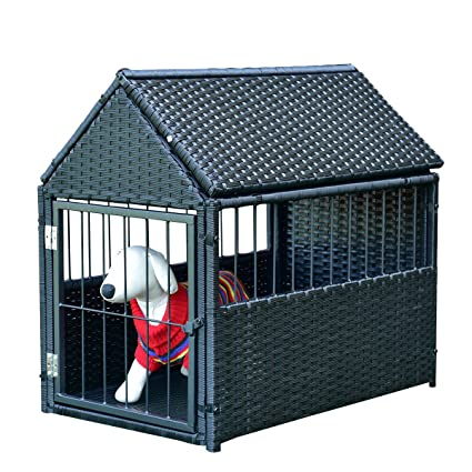Amazon.com : Tangkula Dog House Wicker Rattan Outdoor Indoor Dog ...