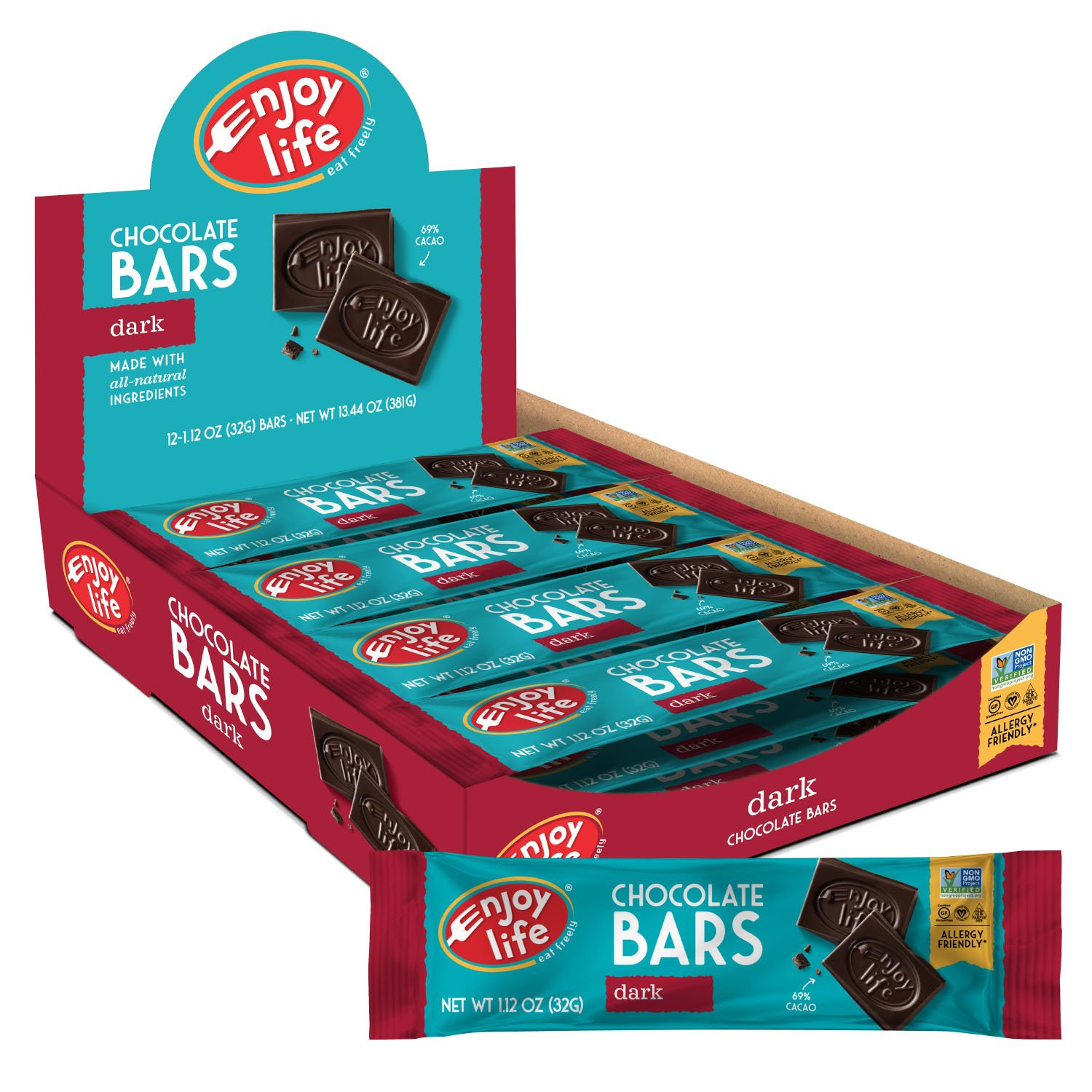 Enjoy Life Foods Chocolate Bars, Dark Chocolate, Soy Free, Nut Free, Gluten Free, Non GMO, Paleo, Dairy Free Chocolate, 2 Boxes of 12 Bars (24 Total Bars), 1.12 ounce