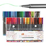 Colored Fineliner Pens, 48 Colors Fineliners 0.38mm Colored Fine Line Point Markers with Assorted Colors Perfect for Coloring Book and Bullet Journal Art Projects