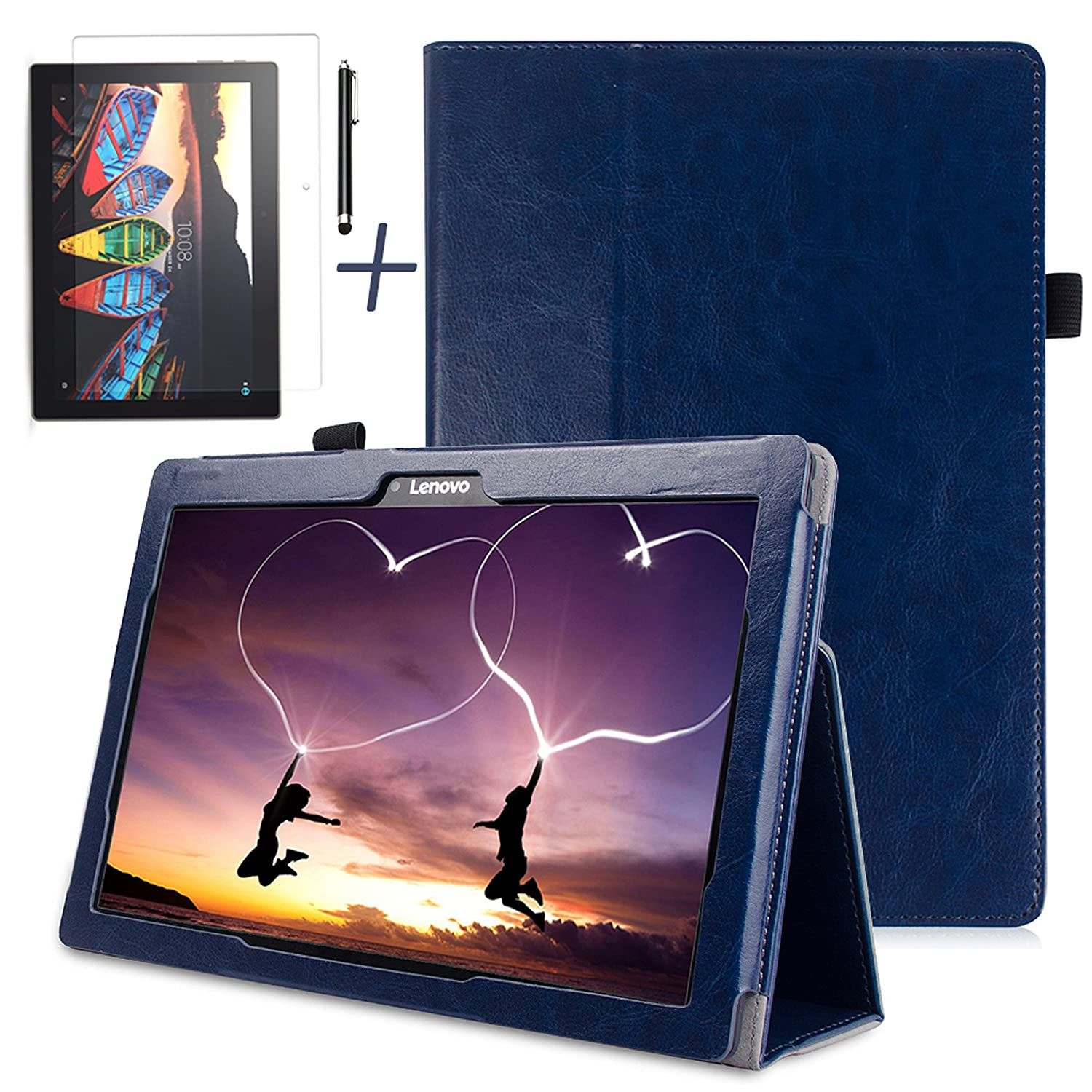 Gard/® Lenovo Tab 3 10.1 Inch 16GB Tablet Purple Luxury PU Leather Case Cover With Tempered Glass Screen Protector,Stylus will not fit the new Tab E10 32Gb, 2018