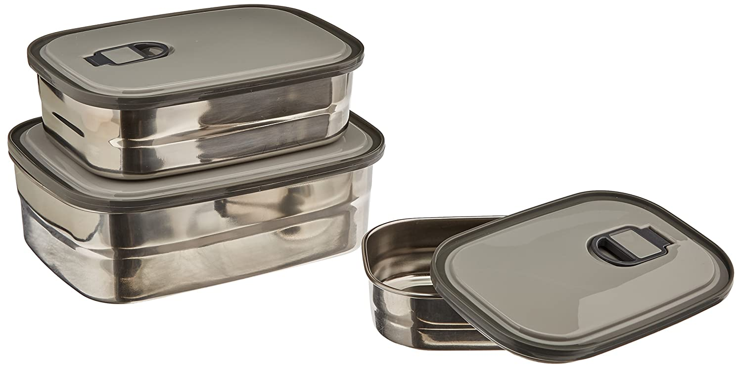 amazoncom stainless steel food storage containers metal lunch box with leak proof lid set of 3 kitchen u0026 dining