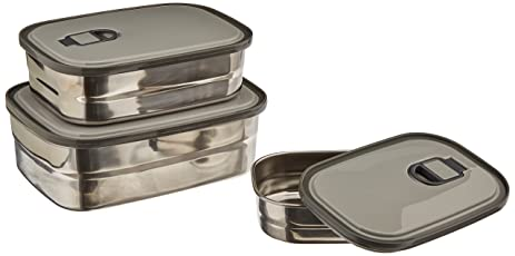 Stainless Steel Food Storage Containers Metal Lunch Box with leak Proof Lid (Set of  sc 1 st  Amazon.com & Amazon.com: Stainless Steel Food Storage Containers Metal Lunch Box ...
