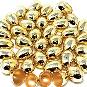 36 Pieces Shiny Golden Metallic Easter Eggs 2.25 in Gold Color for Filling Specific Treats, Easter Theme Party Favor, Easter Hunt, Basket Stuffers Fillers, Classroom Prize Supplies