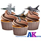 RAF Plane Aircraft Mix Cake Decorations - 12 Edible Wafer Cup Cake Toppers