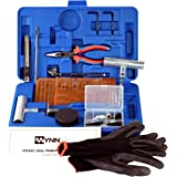 WYNNsky New Ideal 60 Pieces Tire Repair Tools Kit,Plug Flat and Punctured Tires-60 Pieces Truck Tool Box for Motorcycle, ATV, Jeep, Truck, Tractors Flat Tire Puncture Repair