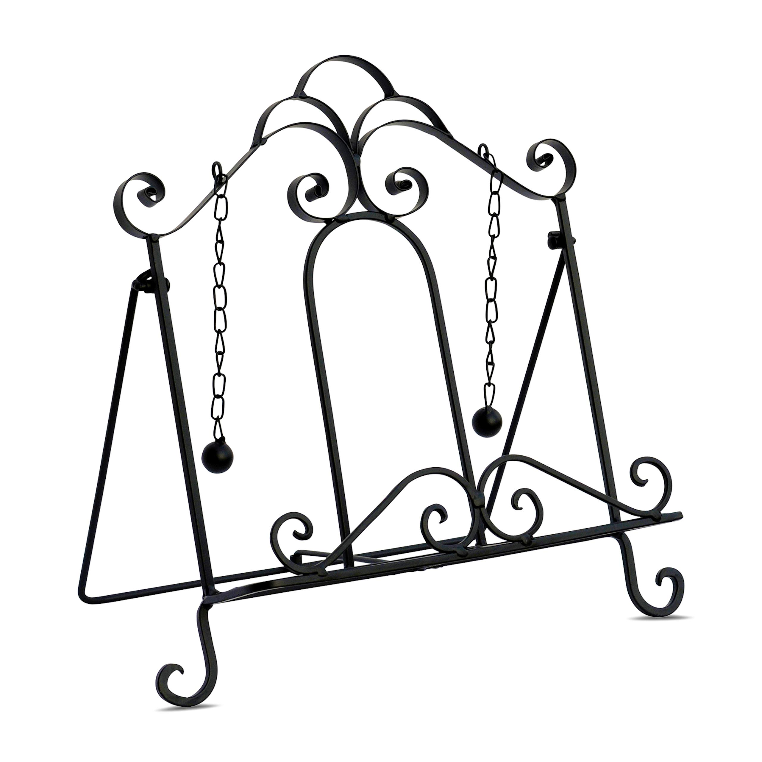 Gastro Chic Cook Book Stand, Artisinal Design, Weighted Drop Chain Page Holders, Iconic Scroll Work Details, Easel Back, 12 1/2 Inches Tall by WHW Whole House Worlds