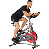 Sunny Health & Fitness Indoor Cycling Bike with LCD Monitor, 40 lb Chrome Flywheel and 265 lb Max Weight - SF-B1423/C