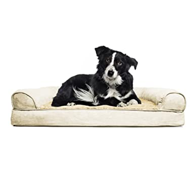 FurHaven Pet Dog Bed | Orthopedic Plush & Suede Sofa-Style Couch Pet Bed for Dogs & Cats, Clay, Large