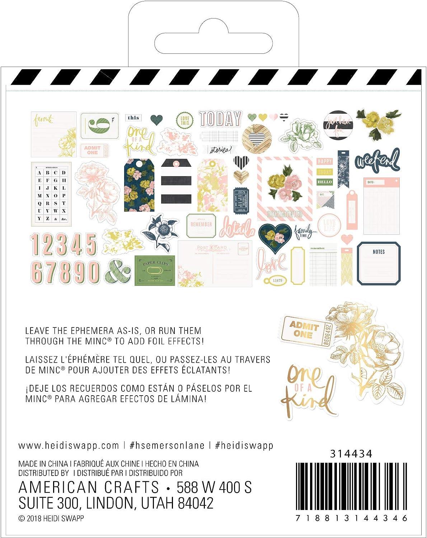 Multicolor Heidi Swapp 314434 Embellishment Emerson Lane-Ephemera 64 Piece