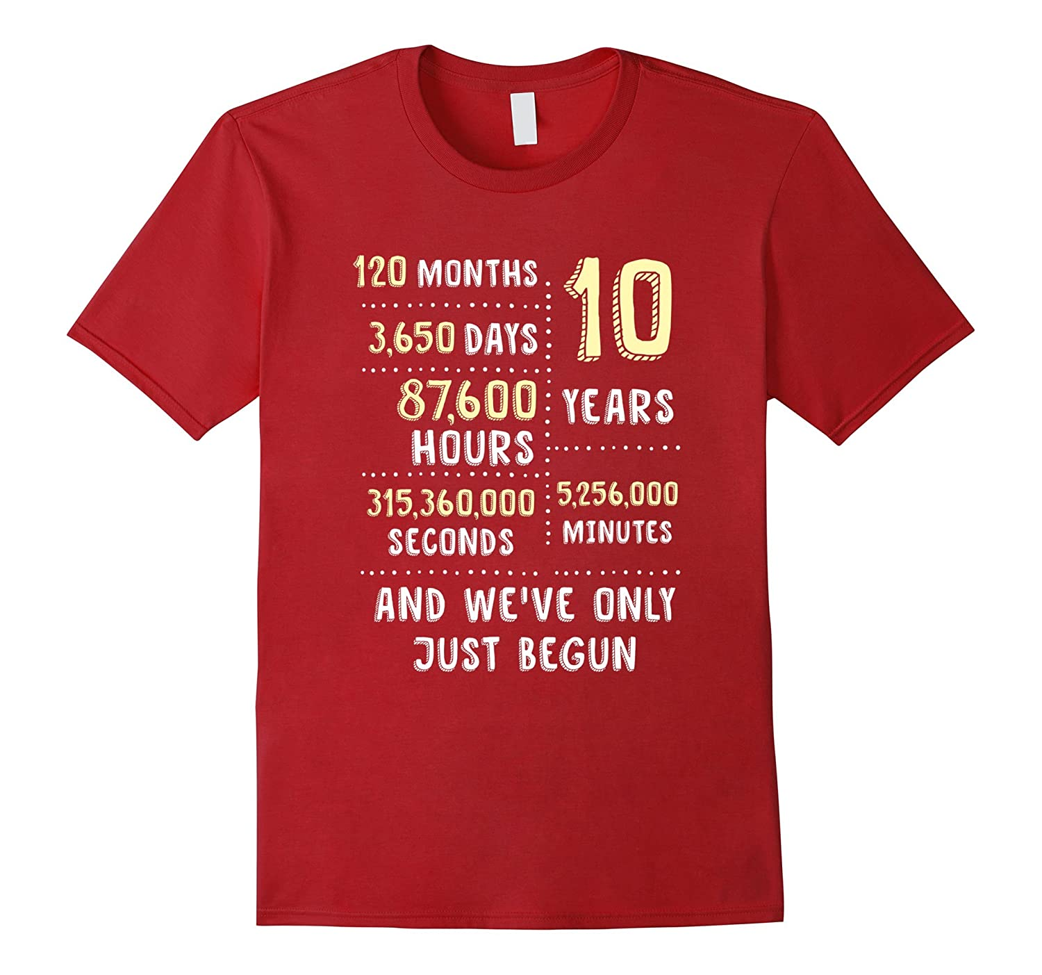 10 Year Anniversary T-Shirt / Cute Gift for Her or Him-BN