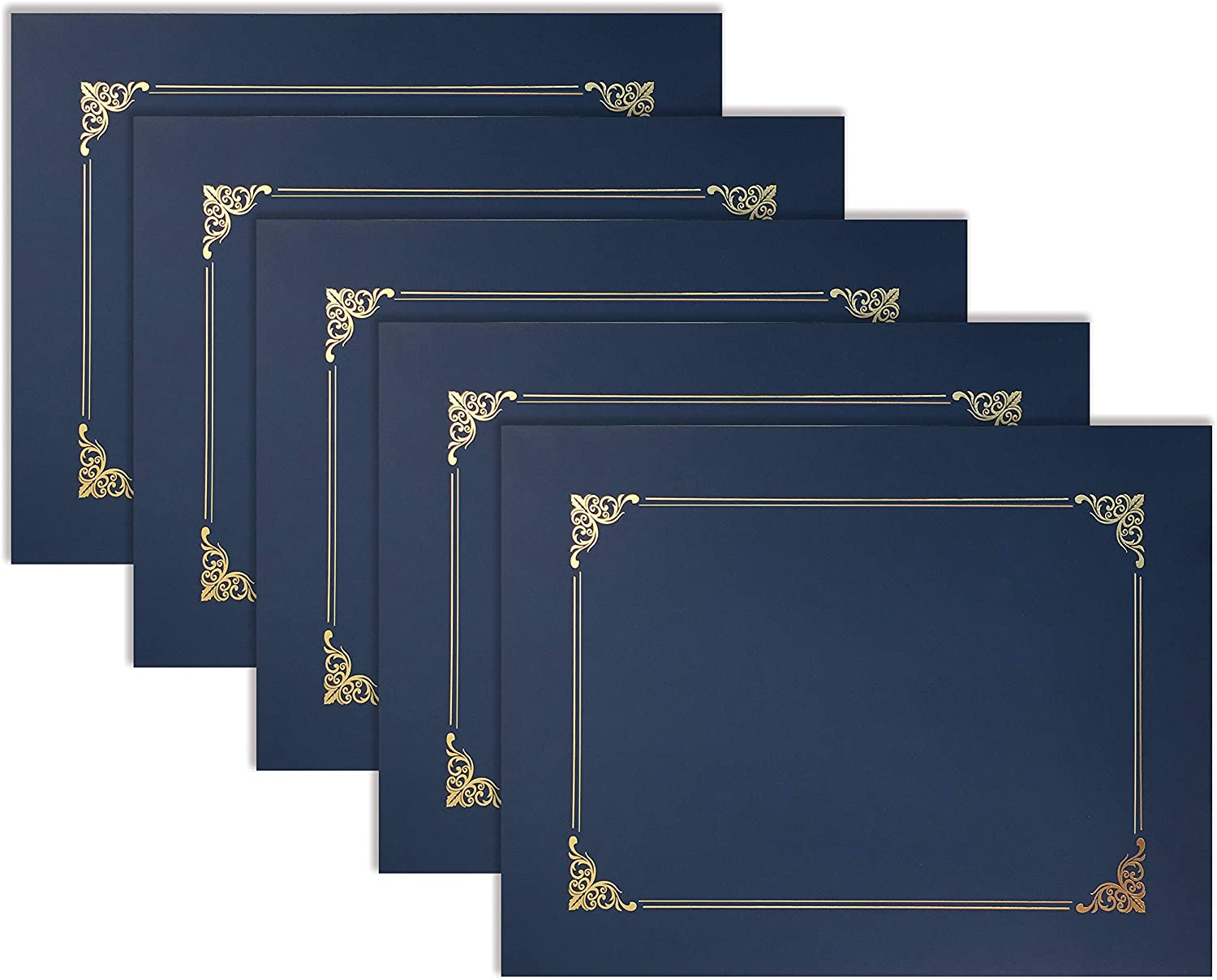 25 Pack Navy Blue Certificate Holders, Diploma Holders, Document Covers with Gold Foil Border, by Better Office Products, for Letter Size Paper, 25 Count, Blue : Office Products