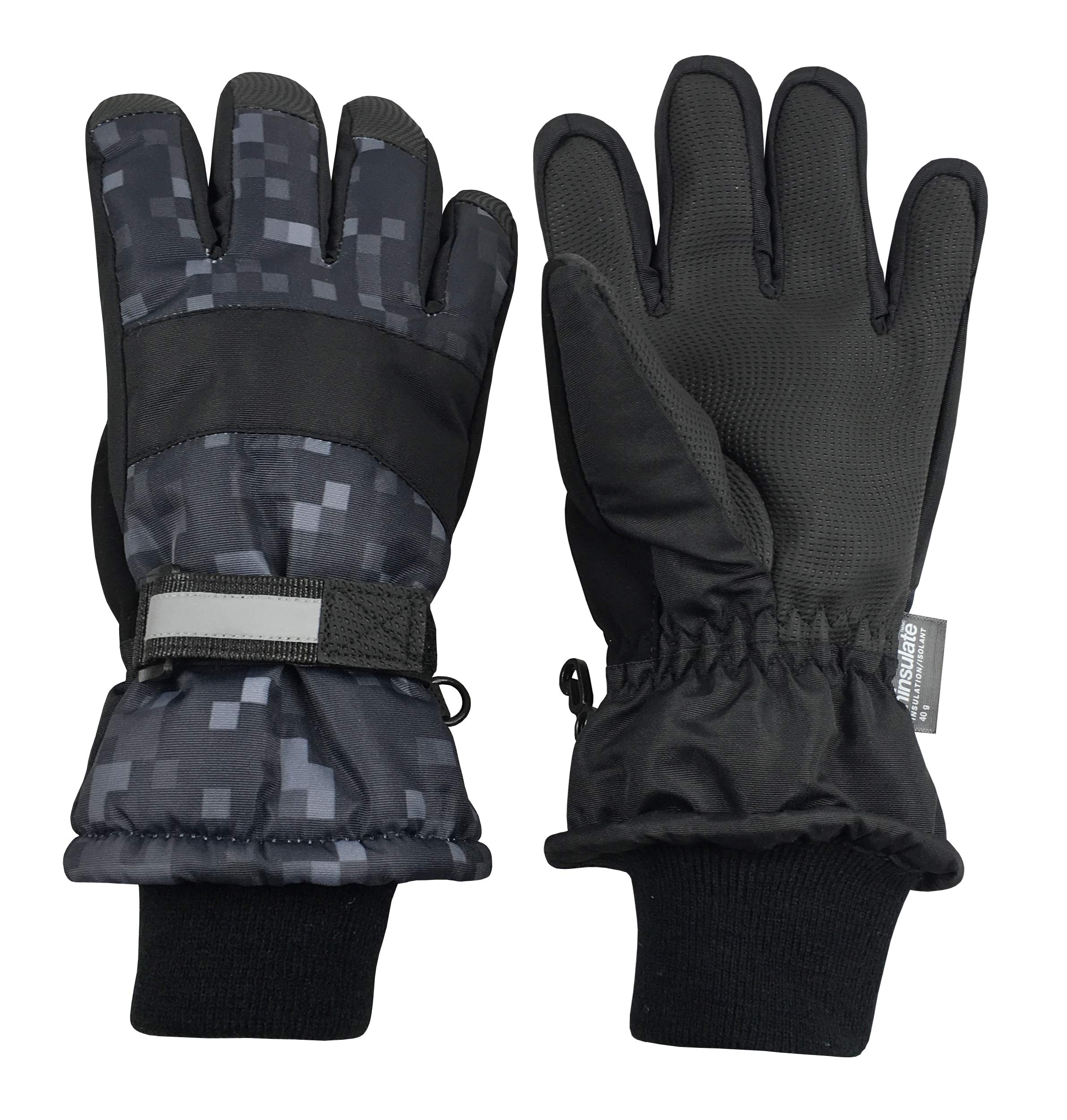 N'Ice Caps Kids Cold Weather Waterproof Camo Print Thinsulate Ski Gloves (Black Pixels, 4-5 Years)