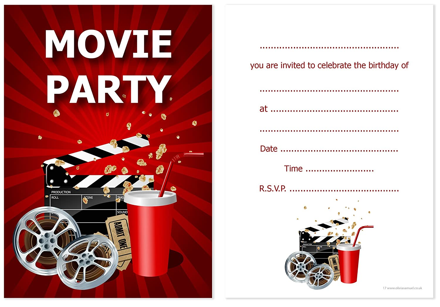 Olivia Samuel Movie Party Invitations - Kids Cinema Party Invites ...