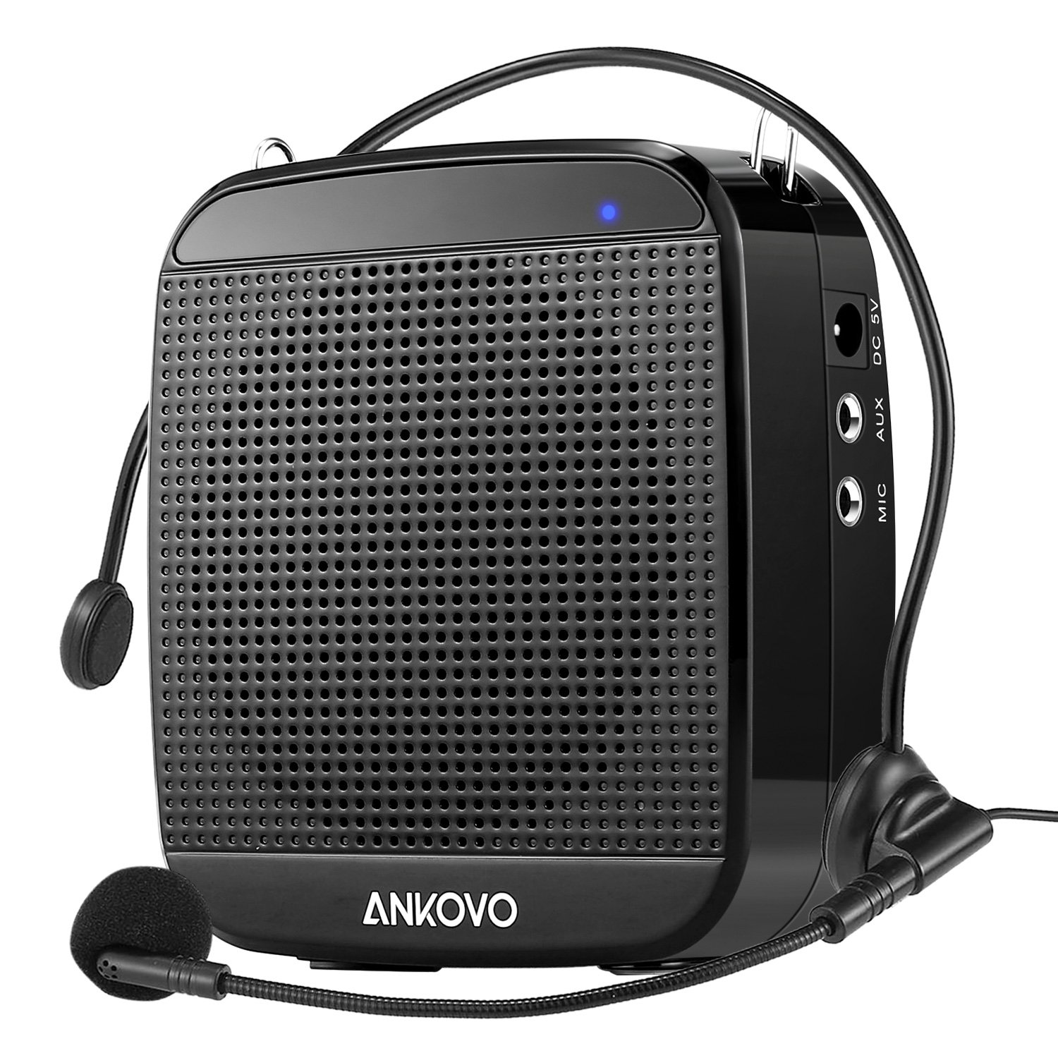 ANKOVO Portable Rechargeable Voice Amplifier With Wired Microphone Headset and Waist Support, Supports MP3 Format Audio for Teachers, Singing, Coaches, Training, Presentation, Tour Guide