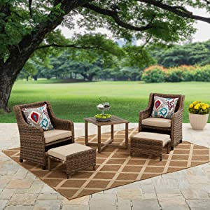 Better Homes & Garden Hawthorne Park 5 Piece Outdoor Chat Set with Beige Cushions