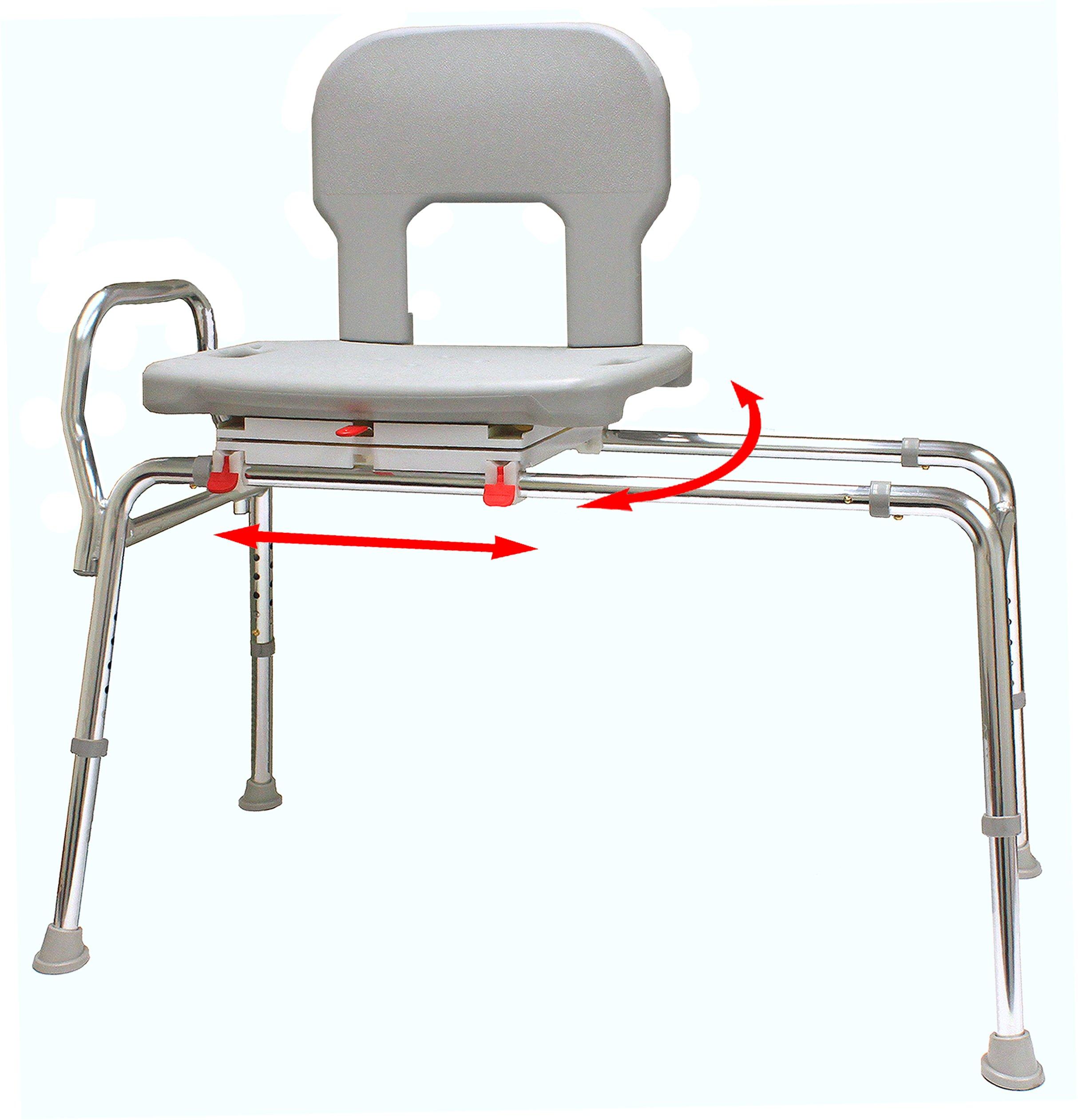 Bariatric Swivel Sliding Bath Transfer Bench (55662) - Regular (Base Length: 39'' - 39.5'') - Heavy-Duty Shower Bathtub Chair - Eagle Health Supplies