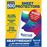 Samsill 500 Clear Heavyweight Sheet Protectors, 3.3 Mil Thickness, Top Loading / 3 Hole Design Page Protectors, Archival…