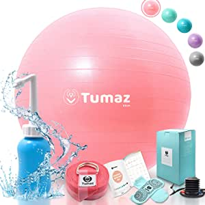 Tumaz Exercise Ball Quick Pump, Anti Burst/Extra Thick/Heavy Duty, Great Ball Chair, Birth Ball, Balance Ball, Swiss Ball, Pilates, Yoga More