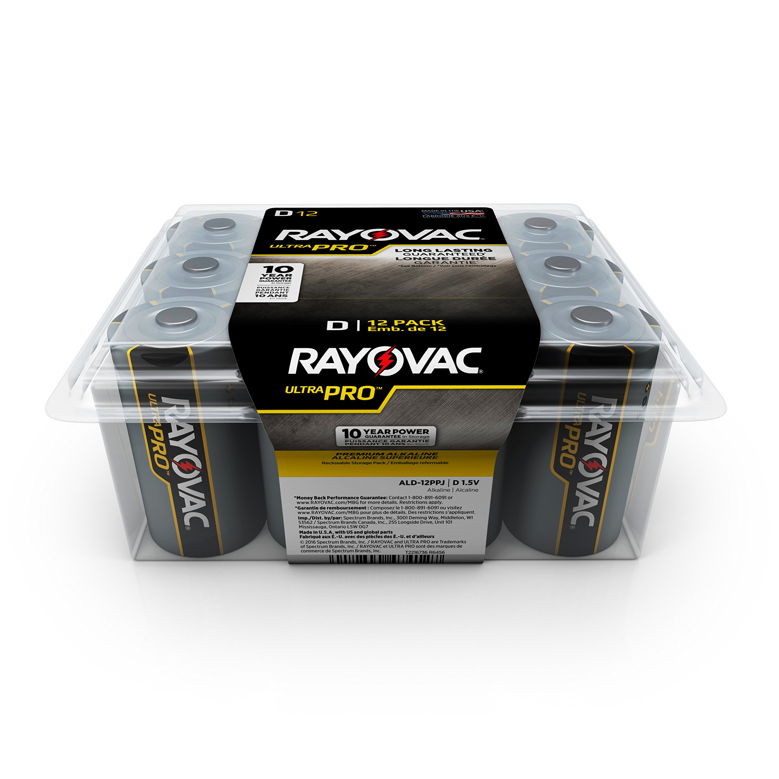 RAYOVAC D Ultra Pro Alkaline Batteries, 12-Pack with Recloseable Lid, ALD-12PPJ
