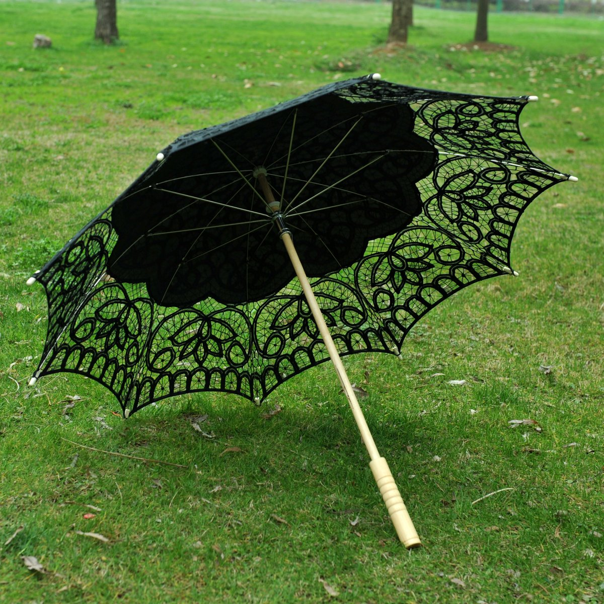 Topwedding Women's Cotton Lace Parasol with A Longer Wood Post Handle by Topwedding (Image #5)