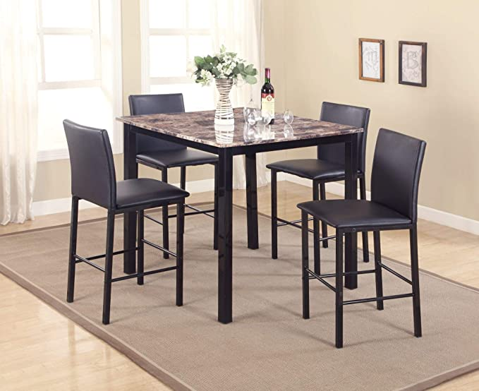 Roundhill Furniture 5 Piece Citico Counter Height Dining Set With Laminated Faux Marble Top Table Chair Sets