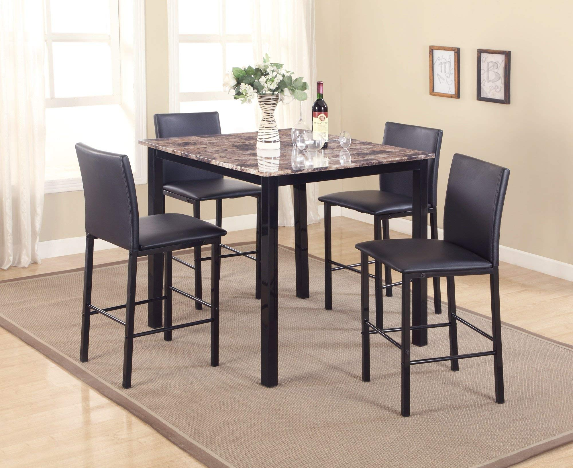 Roundhill Furniture P007BK 5 Piece Citico Counter Height Dining Set with Laminated Faux Marble Top by Roundhill Furniture