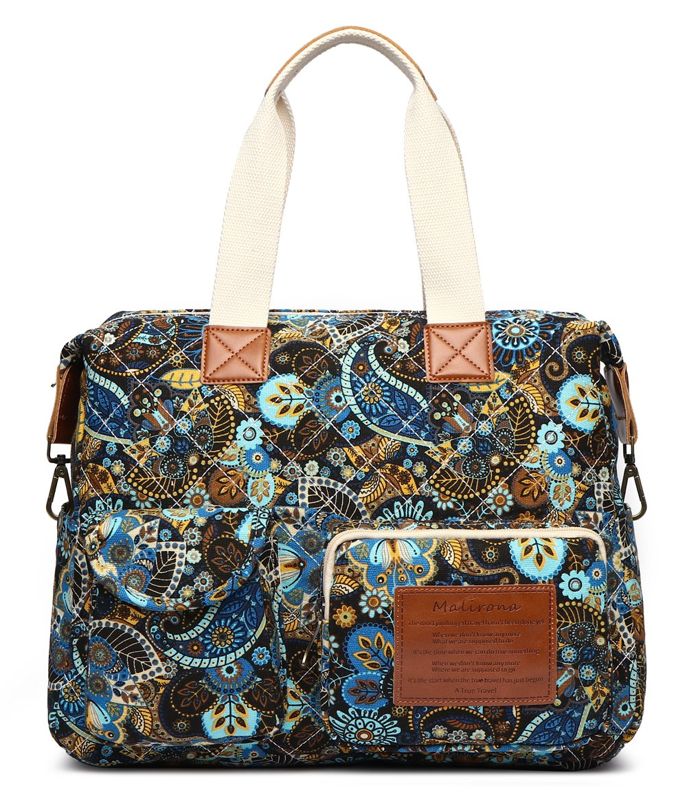 Malirona Canvas Shoulder Bag Travel Handbag Women Top Handle Satchel Crossbody Purse Floral Design (Black Flower)