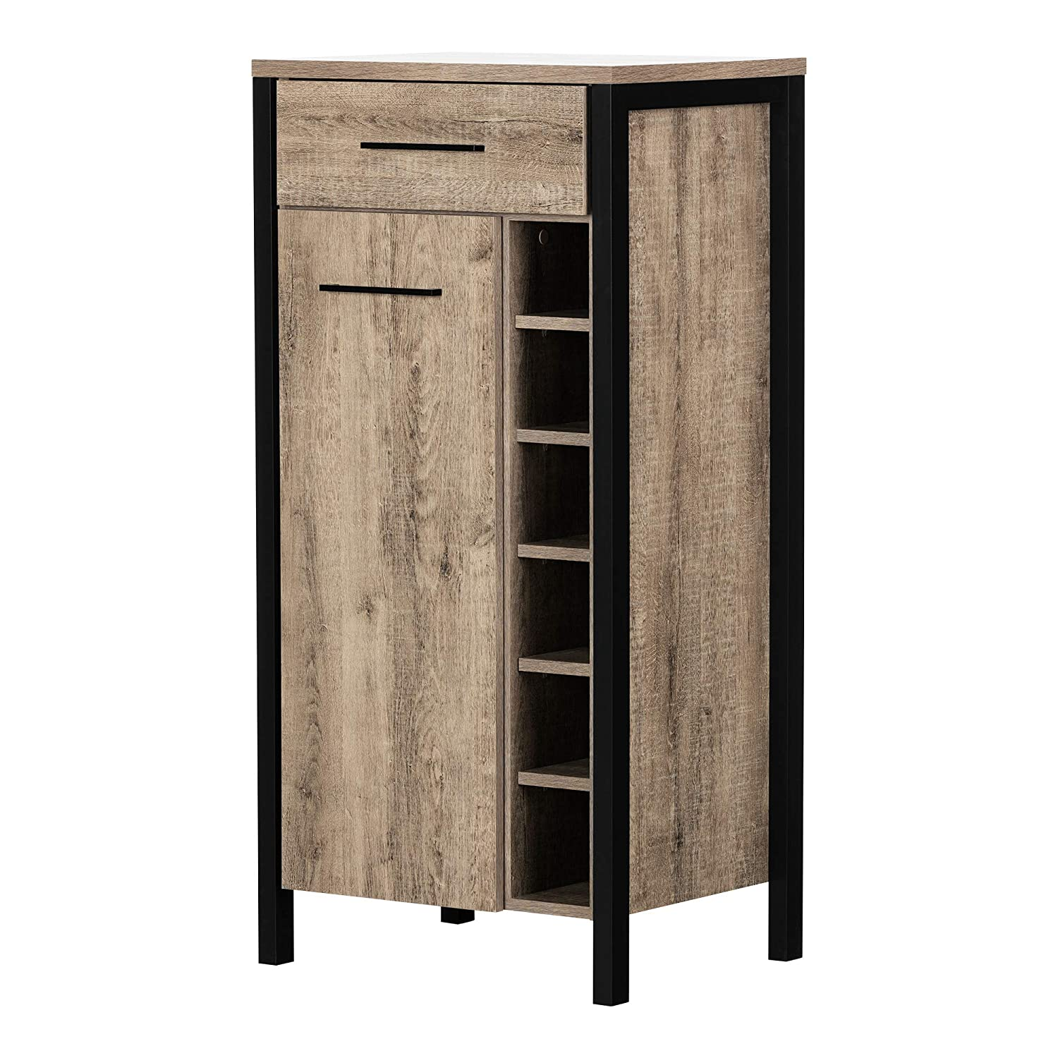 South Shore Furniture 12359 Munich Bar Cabinet with Storage-Weathered Oak and Matte Black