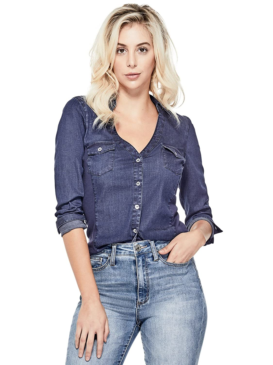 Guess Factory Women's Harley Chambray Shirt GuessFactory