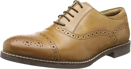 New Mens Red Tape Tan Hopton Leather Shoes Flats Lace Up
