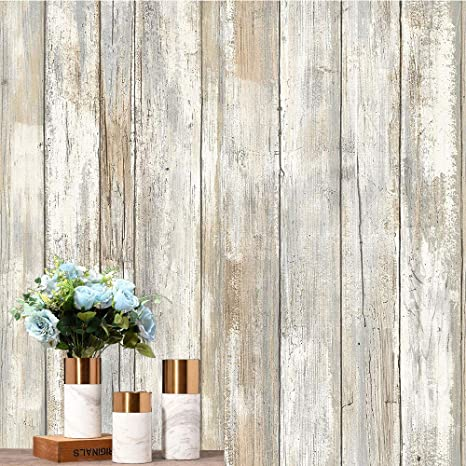 Amazon Com Distressed Wood Peel And Stick Wallpaper 24 In X 9 84 Ft Self Adhesive Removable Wall Paper Covering Decorative Vintage Wood Panel Leave No Trace Easy To Clear Home Kitchen