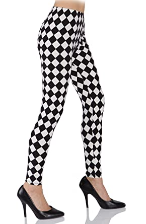 40a3c1f1f70aa Underwraps Costumes Women's Harlequin Leggings, Black/White, X-Small