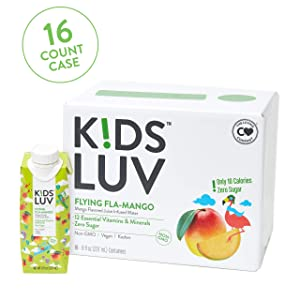 KidsLuv Vitamin Infusused Flavored Kids Water, Zero Sugar, Certified Non-GMO, Vegan and Kosher, 8 ounce Tetra Pak Drink Boxes, Flying Fla-Mango, Pack of 16
